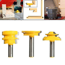 "3pcs 1/2"" Shank 45° Miter, Glue & Drawer Lock Joint Router Bit Set For CNC"
