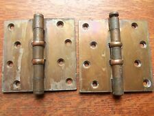 "Two Antique Brass Plated Craftsman Door Hinges 4""  1922 Stanley Thrust Bearings"