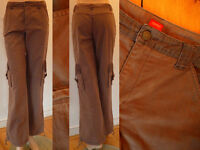 Esprit Hose Damen Cargo Style weites Bein mit Seitentaschen braun XS 34 wie NEU