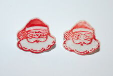 2 Toy Gumball Machine Hong Kong Plastic Santa Claus Christmas Ring 1960s NOS New