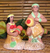NIB Hawaiian Hula Couple Ceramic Salt & Pepper Shakers