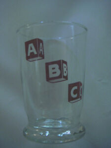 """VINTAGE LIBBEY A B C CHILDS 4"""" CLEAR DRINKING GLASS ALPHABET RED BLOCKS ABC 6 OZ"""