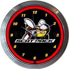 """Dodge Scat Pack Bee Logo Red Neon Hanging Wall Clock 15"""" Diameter"""
