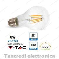 Lampadina led V-TAC 8W = 60W E27 bianco freddo 6000K VT-1978 A67 filamento bulbo