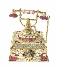 Antique Telephone Jewelry Trinket Box Bejeweled Crystal Enameled Hinged Gem