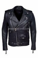 'Brando' Para Hombre Biker Chaqueta de cuero negro chaqueta de moda de cuero 100% Real Sr-MBF