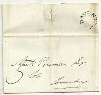 * 1830  DAVENTRY HORSESHOE POSTMARK E/L JOSEPH GUY CLERK TO MR LUCAS NORTHANTS