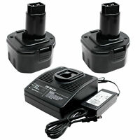 2x Battery + Universal Charger for DeWalt DW926, DW926K-2, DE9062 NICD 1300mAh