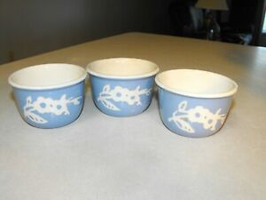 Vintage Harker Pottery Cameoware Blue Custard Cups