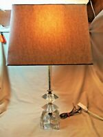 """Mid-Century Modern Lucite Table Lamp 21"""" Tall w Linen Shade 7854"""