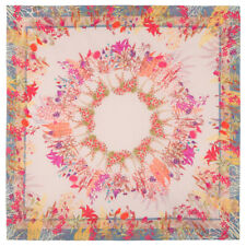 "45x45"" Cotton Pavlovo Posad Shawl Square Scarf Pale Pastel Pink Floral Pattern"