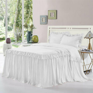 "Double Ruffle Bed Spread/Bed Cover 15"" drop 800TC Egyptian Cotton ALL SIZE&COLOR"
