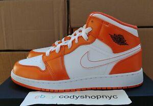 Nike Air Jordan 1 Mid GS Electro Orange size 7Y/Womens 8.5 White NEW DM4228-800