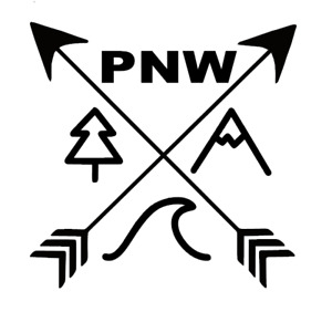PNW Pacific North West Wave, Mountain, Tree Decal