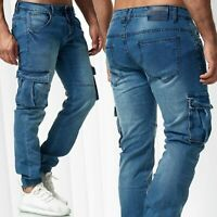 Herren Classic Cargohose Chino  Hose Jogger Cargo Taschen Vintage Jeans Casual