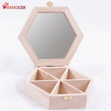 PORTA GIOIE 6 scomparti + specchio 17cm scatola Toilette esagono legno decoupage
