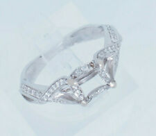 Cut Natural Diamond Engagement Ring Setting 14K White Gold 0.25ctw G-Si Round