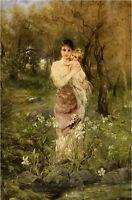Oil painting joseph arpad koppay - mothers sweetheart & child in landscape art
