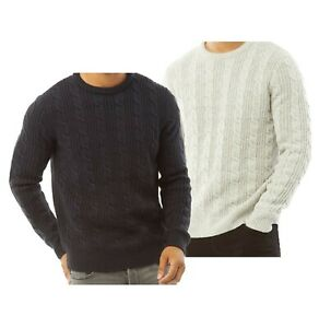 Mens French Connection Classic Cable Knit Crew Neck Jumper Sizes from S to XXL