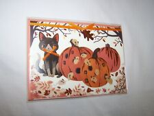 Papyrus Halloween Greeting Card/Envelope; Pumpkins and Cat