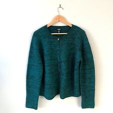 Eileen Fisher Dark Green Button Down Chunky Cardigan Long Sleeve Size Medium
