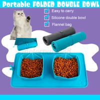Foldable Pet Dogs Cat Water Food Feeder Double Outdoor Travel Bowl Dish