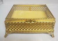 Vintage Hollywood Regency Gold Tone Filigree Glass Top Casket Box Vanity Matson