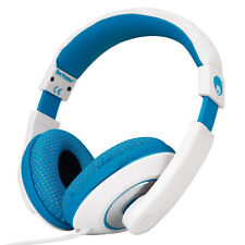 3.5mm Plug Over Head Childs Kids DJ Headphones Laptop Phones Tablets Blue White