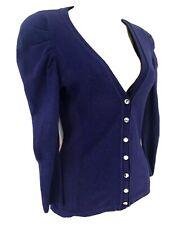 Karen Millen Size 1 UK 8 Chrome Logo Button Dramatic Pleat Shoulder Cardigan