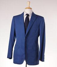 NWT $2495 BELVEST Solid Medium Blue Two-Button Cotton Suit 40 R (EU 50)