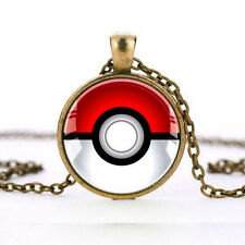 Fashion Pokemon Inspired Pokeball Cosplay Cabochon Pendant Chain Necklace
