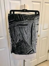 HELMUT LANG  Mini Pencil Skirt in Black & White Abstract Print - Size: M - NWT