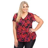 Embellised Top Black Red Floral AUTOGRAPH Plus Sizes 14 - 20 Women V Neck