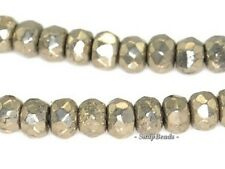 """3X2MM PALAZZO IRON PYRITE GEMSTONE FACETED RONDELLE 3X2MM LOOSE BEADS 15.5"""""""