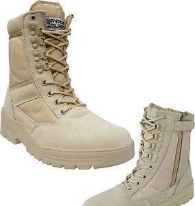 Desert Army Side Zip Combat Patrol Boots Tactical Cadet Military Tan Jungle 908