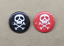 "Captain Harlock & Queen Emeraldas Skull Crossbones Button Set 1.25"" Space Pirate"