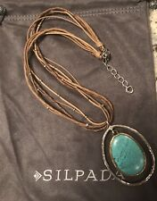 SILPADA N1804 Double-Halo Blue Howlite Stone Bronze & Silver Necklace Was $129