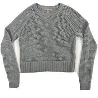 Banana Republic Womens Sweater Gray Crop Long Sleeve Polka Dots Size S