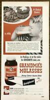 1952 Grandma's Molasses PRINT AD In Baked Beans in Milk Boy Drinking Milk