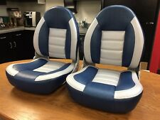 Boat Seats TEMPRESS ProBax Blue Silver Gray - PAIR (2) TWO - Made in USA