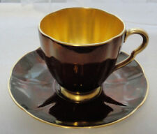 "Vintage CARLTON WARE Rouge Royale 3 1/8"" Teacup TEA CUP & SAUCER Gold Interior"