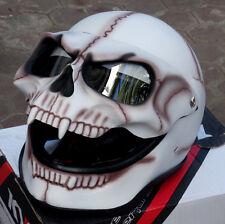 Motorcycle Helmet Skull Death Visor Flip Up Shield White Ghost Rider FullFace