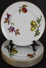 "6 Pc VTG Signed Royal Worcester Evesham Gold Porcelain 8.25"" Salad Plate Set"