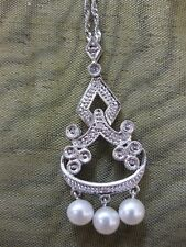 14ct White gold Cultured Salt Water Pearl and Diamond pendant NEW. RRP: £350