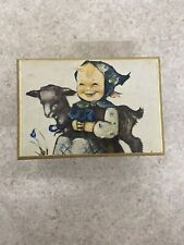 Wooden Swiss Music Box 391-026 with Hummel Girl and goat on box
