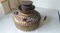 VINTAGE BRASS FINISH METAL CAMPING STOVE / HEATER  BASE- UNTESTED