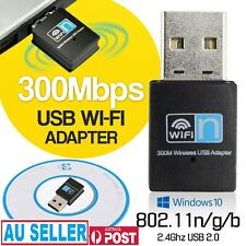 300Mbps Wireless Usb Adapter Wifi Internet Dongle 802.11N For Windows 7 8 10 OZ