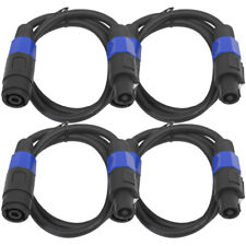 4 Pack of 3 Foot Speakon Extension Cables - Speakon Male to Speakon Female 12AWG