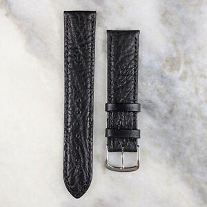 Genuine Calfskin Leather Watch Strap - Black - 18mm/20mm