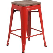 "Flash Furniture 24"" Backless Red Metal Counter Ht. Stool - CH-31320-24-RED-WD-GG"